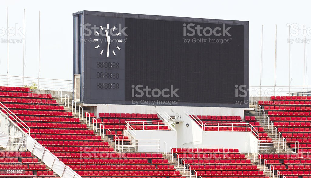 Scoreboard at stadium. stock photo