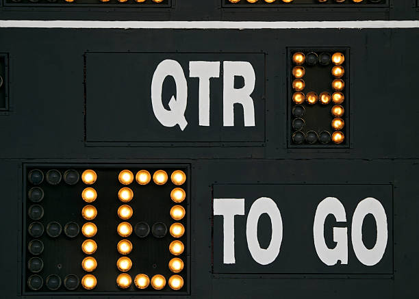 Scoreboard on American Football field yards to go and QTR A partial view of a Scoreboard on an American football field. 4th Quarter and 10 yards to go are shown. This is on a High School football field in Oregon. scoring stock pictures, royalty-free photos & images