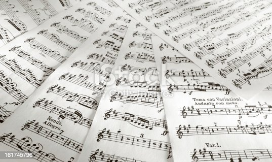 Details of music scores printed on papers.