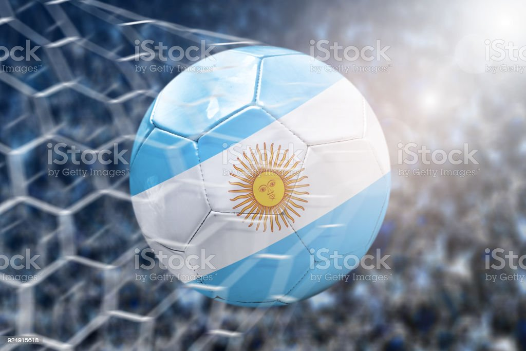 Scoring a Goal, Argentinian soccer ball stock photo