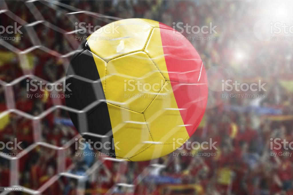 Scoring a Goal, Belgian soccer ball stock photo