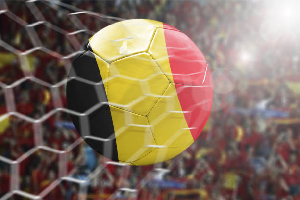 Scoring a Goal, Belgian soccer ball stock photo