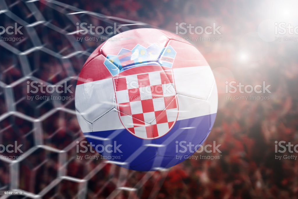 Scoring a Goal, Croatian soccer ball - foto stock