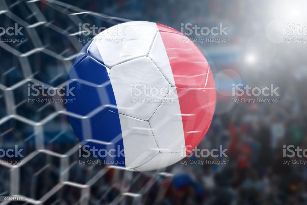 Scoring a Goal, French soccer ball stock photo