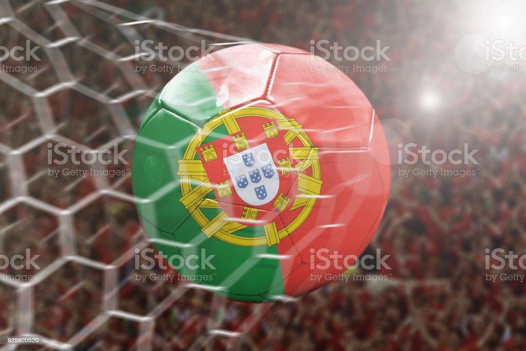 Scoring a Goal, Portuguese soccer ball - fotografia de stock