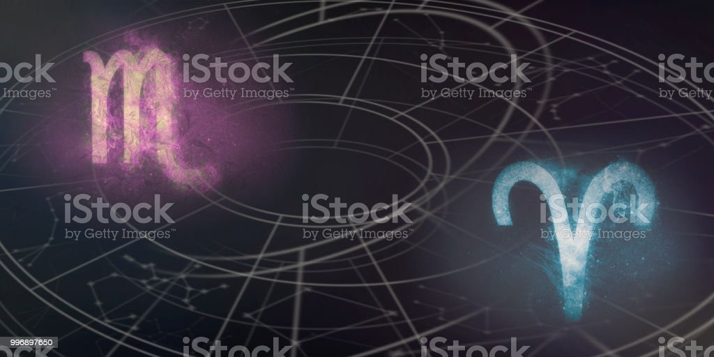 Scorpio And Aries Horoscope Signs Compatibility Night Sky Abstract