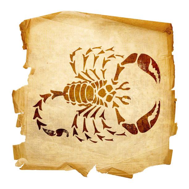 Skorpion Tierkreis alt, isoliert auf weißem Hintergrund. – Foto