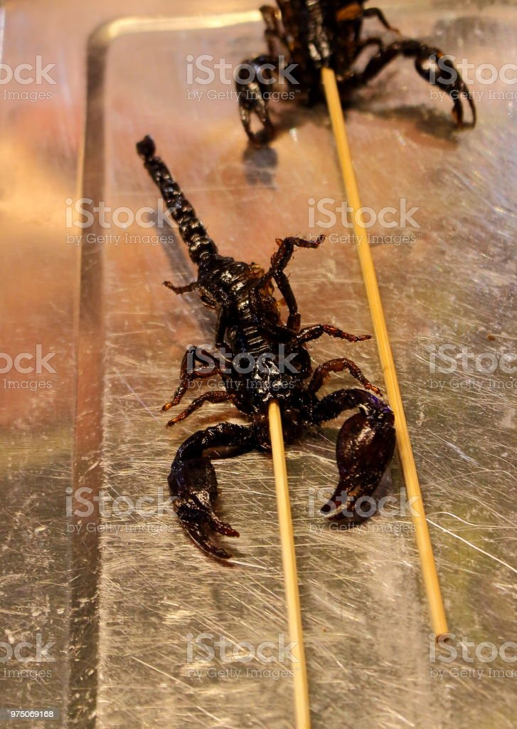 Scorpion kebab on street market Cambodia stock photo