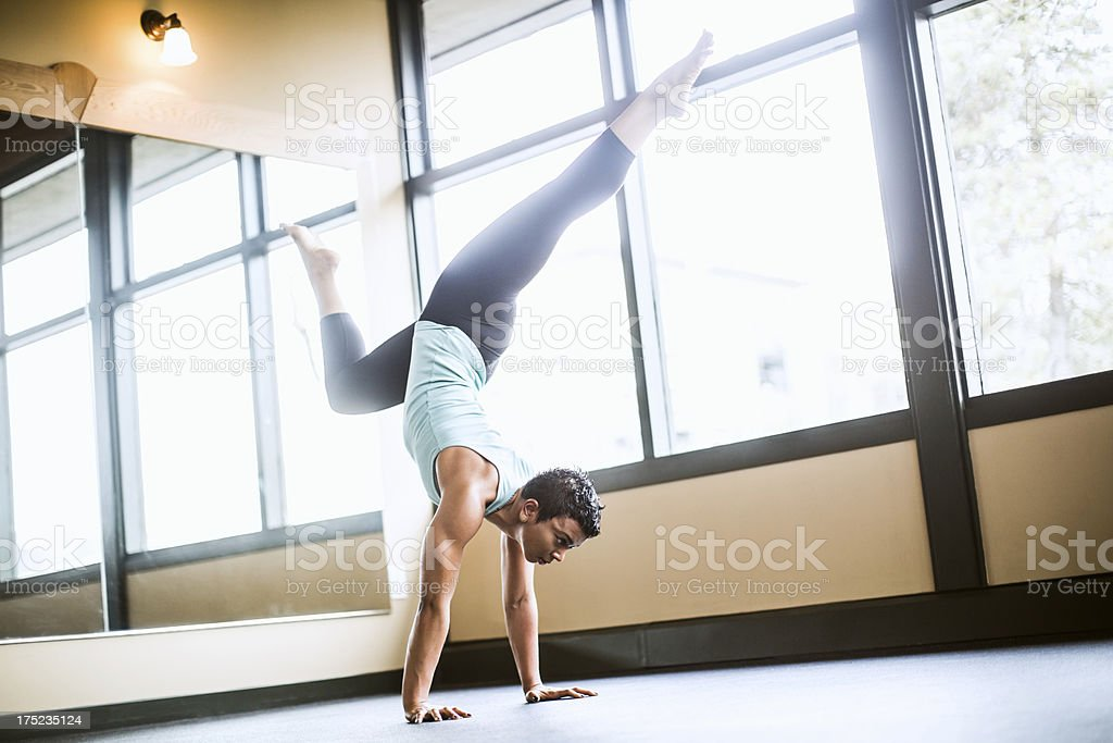 Scorpion Pose Yoga woman royalty-free stock photo