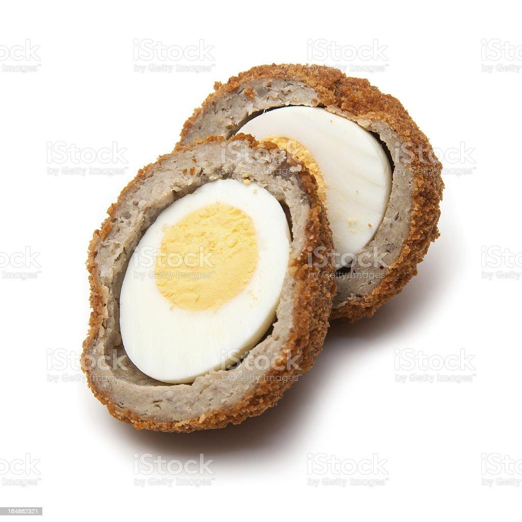 Scotch egg halved stock photo