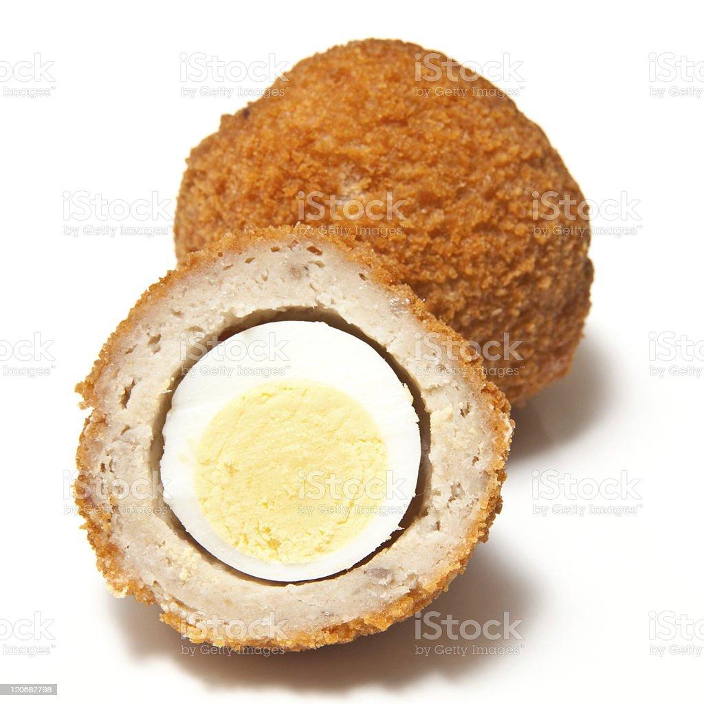 Scotch egg whole and halved stock photo