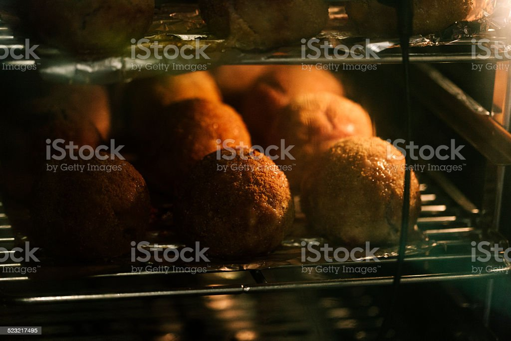 Scotch eggs in the oven stock photo