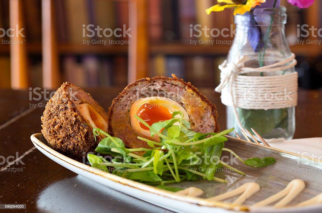 Scotch Eggs  - sausage and eggs stock photo
