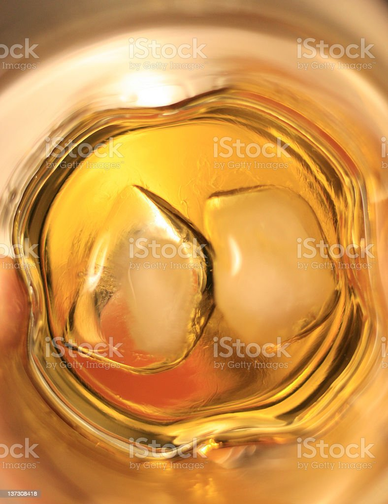 Scotch on the Rocks - Abstract View From Inside Glass stock photo