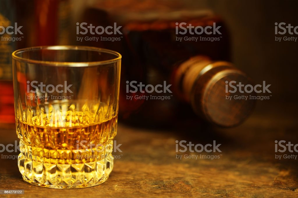 Scotch whiskey on a rustic wooden table stock photo