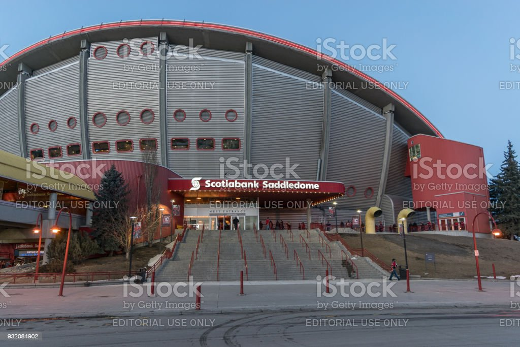 CALGARY, Canada - March 12. 2018: Scotiabank Saddledome with Calgary Flames fans before NHL match against Edmonton Oilers stock photo