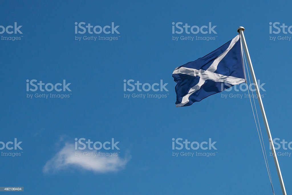Scotish flag with copyspace stock photo