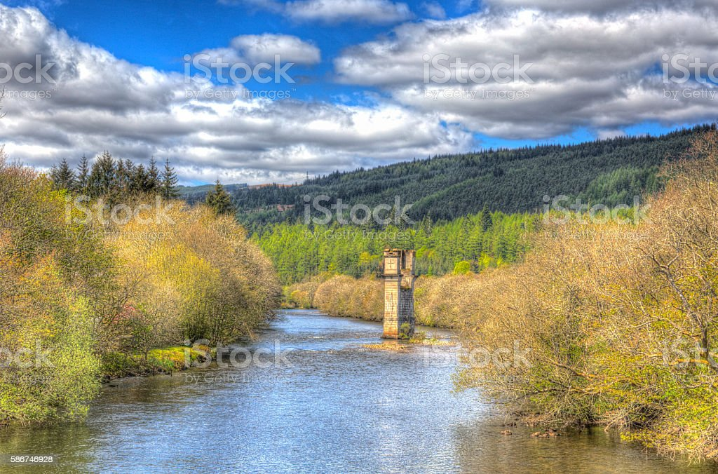 Scotish River Oich Fort Augustus Scotland by Loch Ness HDR stock photo