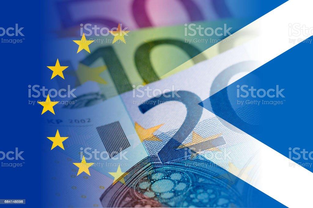 scotland and eu flags with euro banknotes mixed image royaltyfri bildbanksbilder