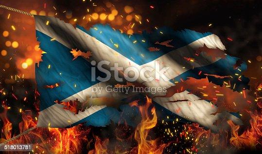 istock Scotland Burning Fire Flag War Conflict Night 3D 518013781