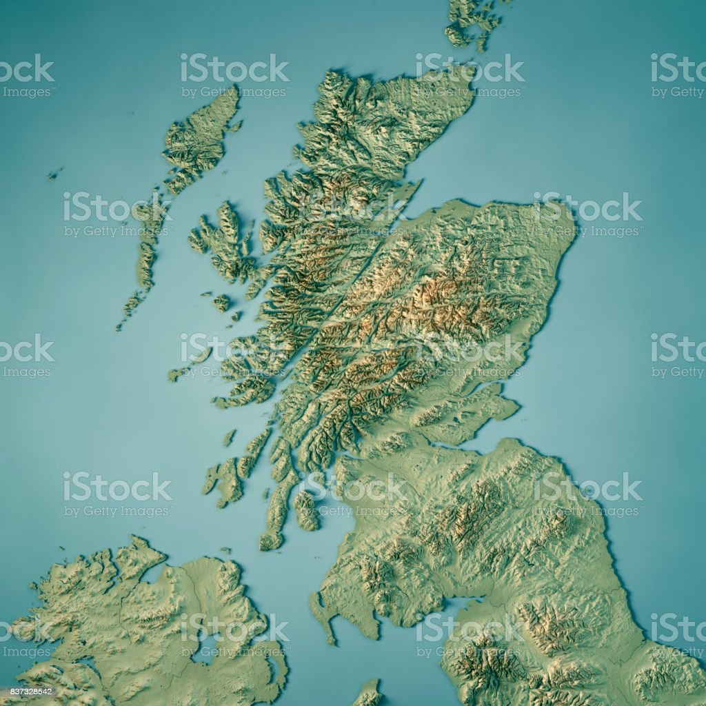 Scotland Country 3D Render Topographic Map stock photo