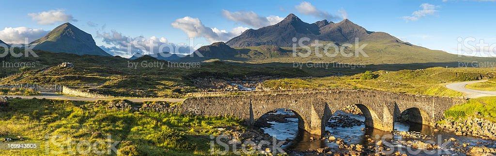 Scotland Cuillin mountain peaks above Sligachan Skye panorama stock photo