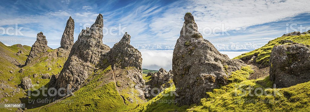 Scotland dramatic Highland pinnacles above clouds Isle of Skye panorama royalty-free stock photo