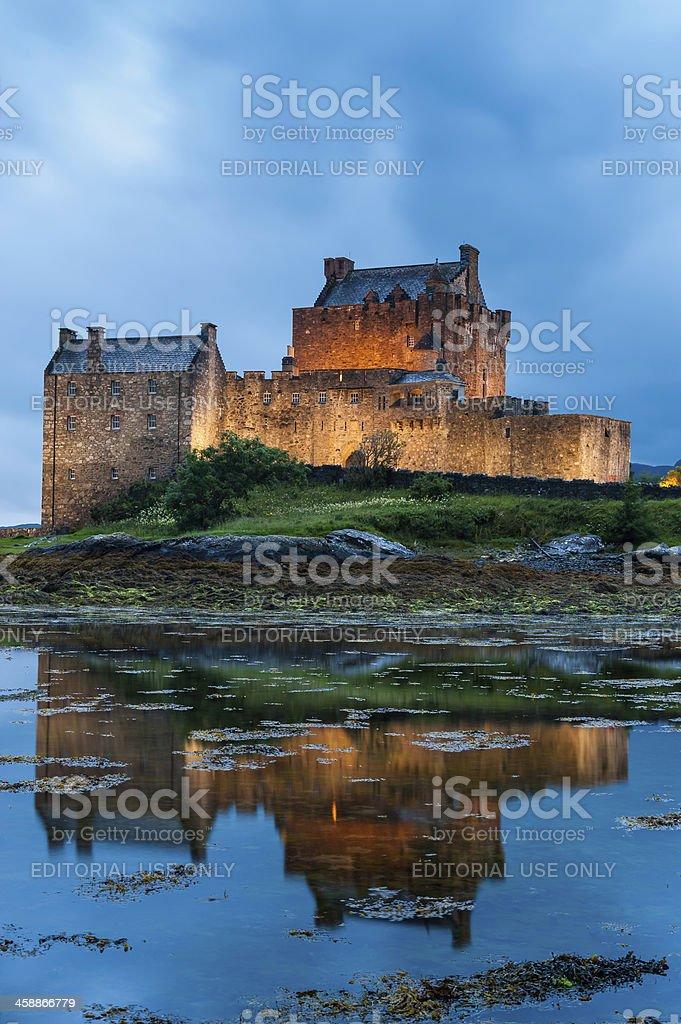 Scotland Eilean Donan Castle Loch Duich Highlands landmark illuminated royalty-free stock photo