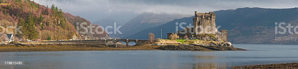 Scotland Eilean Donan castle panorama royalty-free stock photo