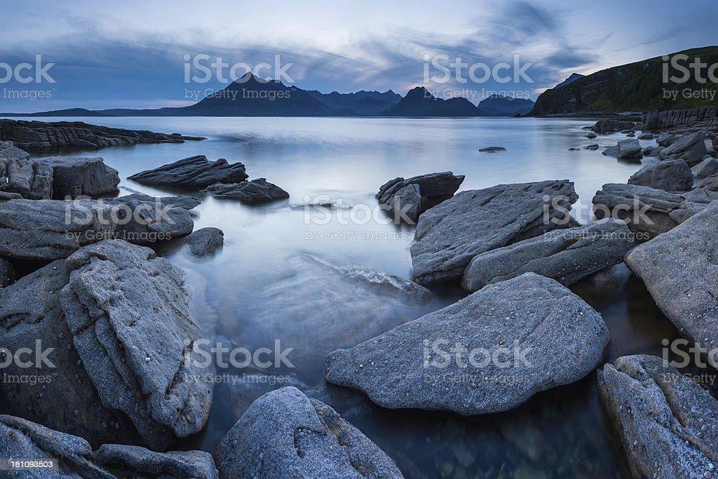 Scotland Elgol beach sunset below Cuillin mountains Skye stock photo