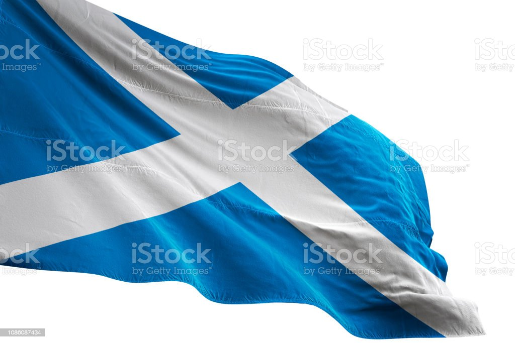 Scotland flag close-up waving isolated white background realistic 3d...