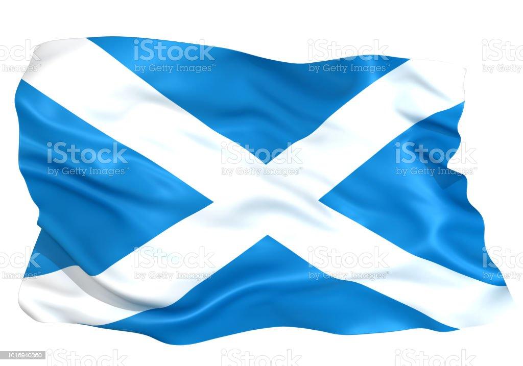 3D illustration of Scotland flag
