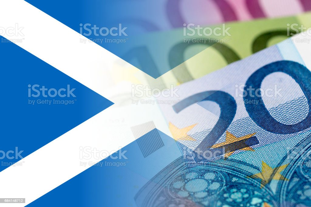 scotland flag with euro banknotes mixed image Lizenzfreies stock-foto