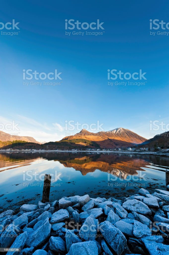 Scotland Glencoe Loch Leven winter frost Highland mountains stock photo