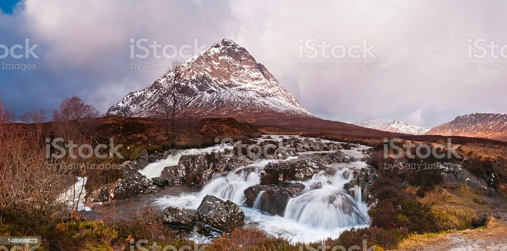 Scotland Glencoe snow peak roaring cascades royalty-free stock photo