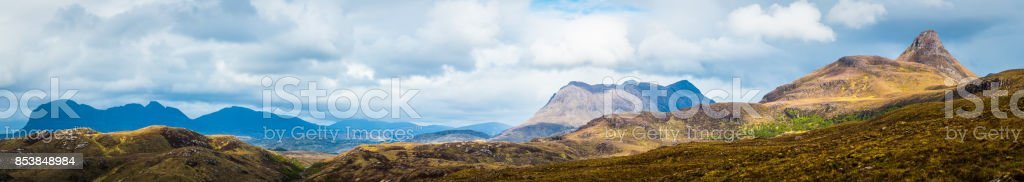 Scotland Highlands mountain peaks panorama Suilven Cul Mor Stac Pollaidh stock photo
