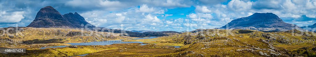Scotland iconic mountain peaks Suilven Cul Mor Highlands wilderness panorama stock photo