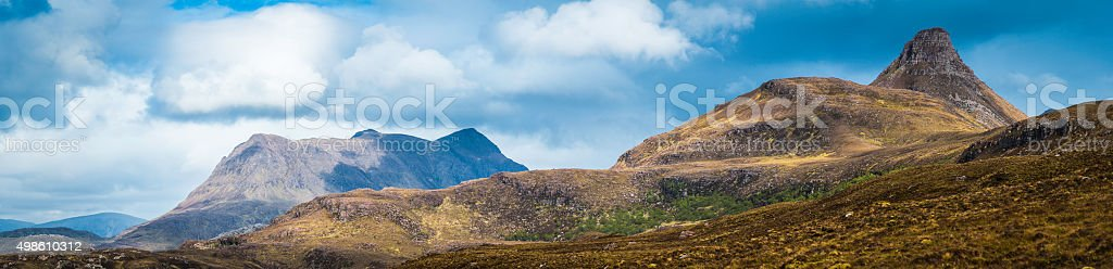 Scotland Inverpolly Wilderness mountain peaks panorama Stac Pollaidh Cul Mor stock photo