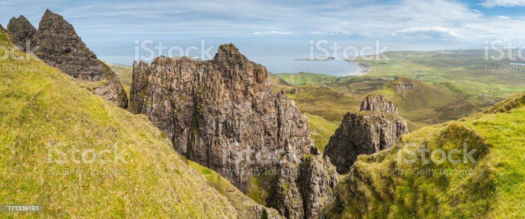 Scotland Isle of Skye Highland pinnacles on Trotternish Peninsula stock photo
