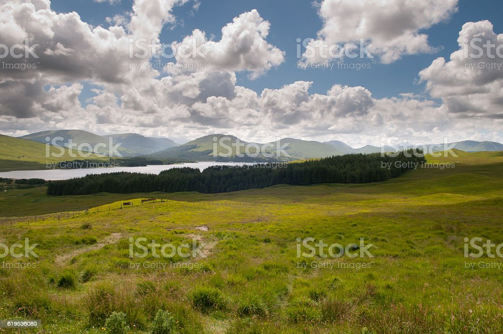 Scotland landscape with mountains and a lock stock photo