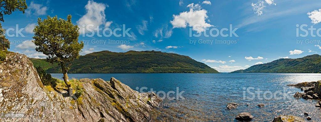 Scotland Loch Lomond idyllic Highland mountain shore Trossachs National Park stock photo