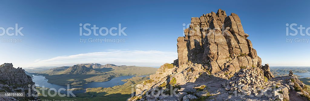 Scotland mountain sunrise Coigach Stac Pollaidh wilderness panorama stock photo
