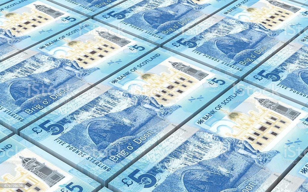 Scotland pound bills stacks background. stock photo