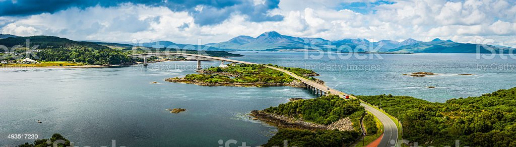 Scotland Skye Bridge over Loch Alsh to Highlands mountains panorama stock photo