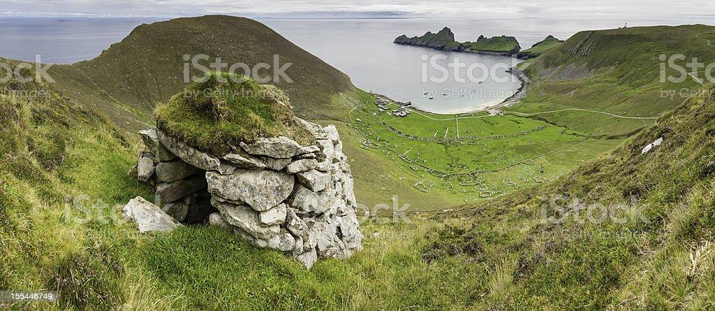 Scotland St Kilda Village Bay stone cleit Western Isles stock photo