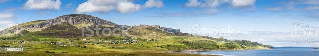 Scotland summer on the Isle of Skye Quiraing panorama stock photo
