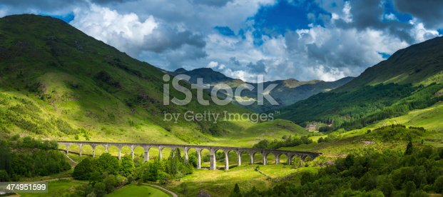 Summer sunlight illuminating the iconic arches of the Gelnfinnan Viaduct as it curves across the green glen at the end of Loch Shiel overlooked by the rugged mountain peaks of the Highlands, Scotland. ProPhoto RGB profile for maximum color fidelity and gamut.