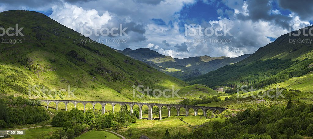 Scotland sunlight on Highland mountain glen Glenfinnan viaduct panorama Lochaber stock photo