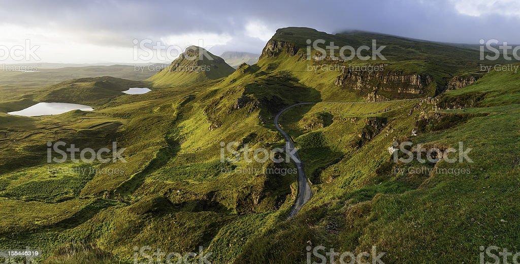 Scotland sunrise on mountain pinnacles Quiriang Skye stock photo