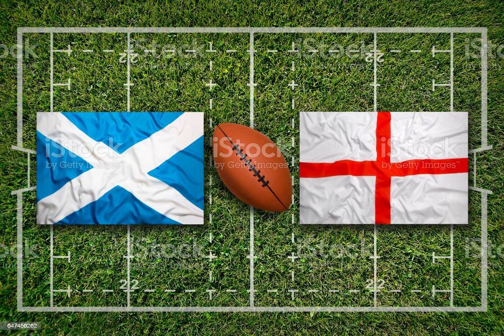 Schottland-England Fahnen auf Rugby-Feld – Foto